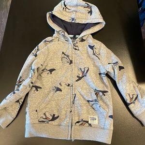 Gray 3T shark hoodie.